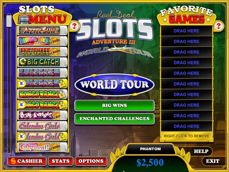 reel deal slots adventure iii world tour cheats